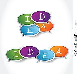 泡, メッセージ, デザイン, 考え, イラスト