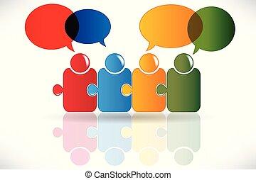 泡, 人々, 会話, ロゴ, チームワーク, アイコン