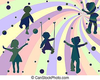 泡, 光線, 子供, 構成