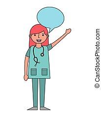 泡, 医学, スピーチ, 女性の医者
