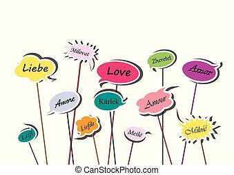泡, 単語, 愛, 隔離された, イラスト, 言語, 背景, 多色刷り, ベクトル, 様々, スピーチ, 横, 白, ヨーロッパ