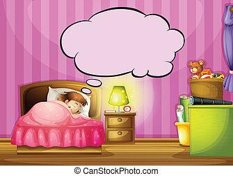 泡, 女の子, スピーチ, 睡眠