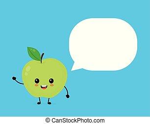 泡, 幸せ, かわいい, アップル, smilling, スピーチ