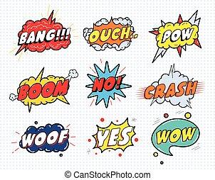 泡, 漫画, いいえ, 隔離された, woof, セット, ベクトル, ouch, pow, 衝突, lettering...