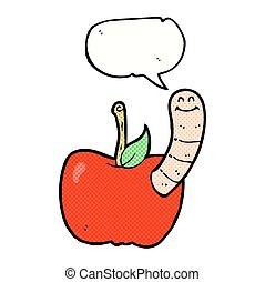 泡, 漫画, スピーチ, アップル, みみず