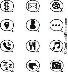 泡, 社会, ネットワーク, 適用, アイコン
