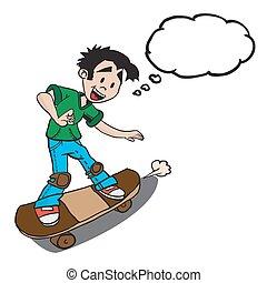泡, 考え, 男の子, スケート
