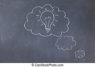 泡, 黒板, 雲
