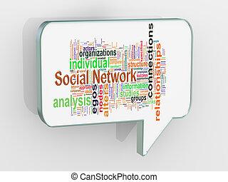 泡, 3d, スピーチ, ネットワーク, 社会