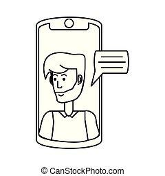泡, smartphone, スピーチ, 人