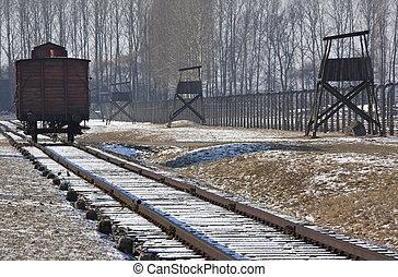 波兰, 营房, -, birkenau, 集中, 纳粹