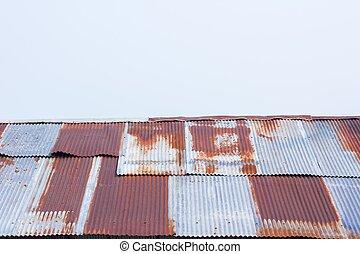 波形, の上, 金属, シート, 錆ついた, 終わり, 鉄