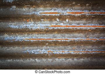 波形, 亜鉛, フェンス, 壁, 金属, 手ざわり, 錆ついた, 鉄, 背景