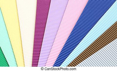 波形, 色, セット, ペーパー, 手ざわり