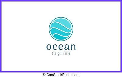 波浪, 標識語, 摘要, 水, 環繞, 設計