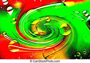 波浪, oil-drops, 水, 浮動