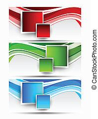 波状, セット, 正方形, 旗