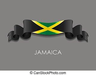 波状, バックグラウンド。, リボン, ジャマイカのフラグ, ベクトル, illustration.