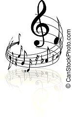 波状, メモ, バックグラウンド。, ベクトル, 白, 音楽のスタッフ