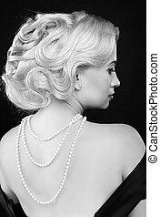 波状, 女, 芸術, hairstyle., beauty., photo., ファッション, レトロ, 宝石類