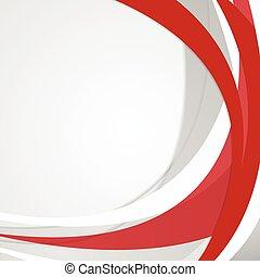 波状, 抽象的, ベクトル, 赤, 背景