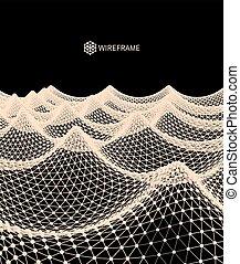波状, illustration., 抽象的, 水, バックグラウンド。, ベクトル, 格子, surface., 3d