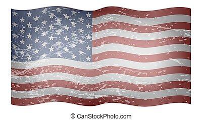 波狀, 以及, textured, 美國旗