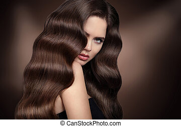 波狀, 晴朗, hairstyle., 關心, 長, stare., 女孩, products., 頭髮, hair., 美麗, 黑發淺黑膚色女子, healhy, portrait., 美麗的婦女, 布朗, 模型