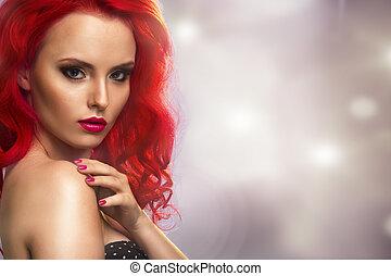 波狀, 紅色, hair., 時裝, 女孩, portrait.