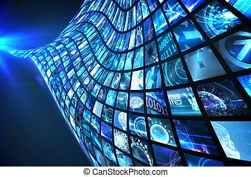 波, の, デジタル, スクリーン, 中に, 青
