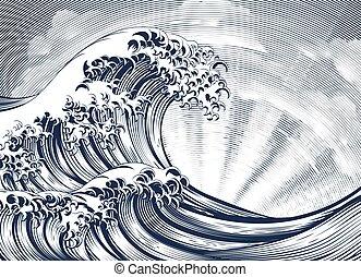 波, エッチング, 東洋人, 木版, 日本語, 刻まれる