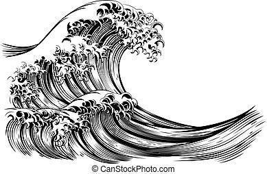 波, スタイル, 彫版, 日本語, 偉人