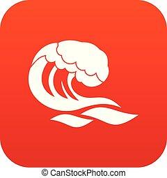 波, デジタル, 赤, アイコン