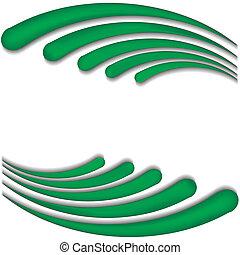 波, ベクトル, 緑の背景, イラスト