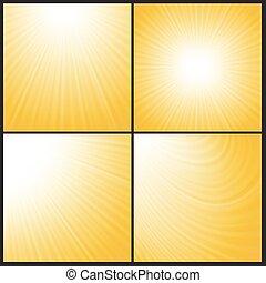 波, 抽象的, 太陽, 背景
