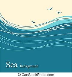 波, 背景, 海, テキスト