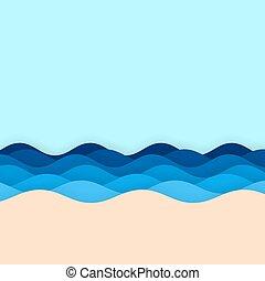 波, 背景, 砂の 海, 青い空