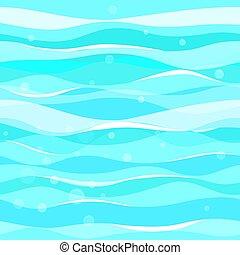 波, seamless, ベクトル, 青, pattern., パターン, 抽象的
