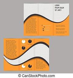 波, tri-fold, フライヤ, デザイン, テンプレート, パンフレット, 涼しい