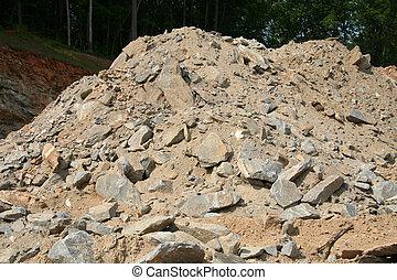 泥土, 以及, 碎石, 堆
