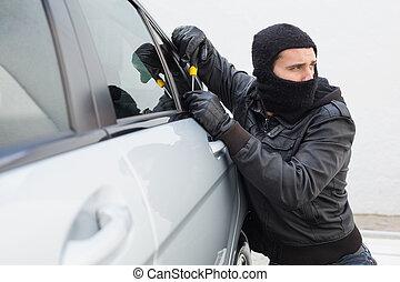 泥棒, 壊れる, に, a, 自動車