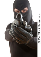 泥棒, 指すこと, a, 銃