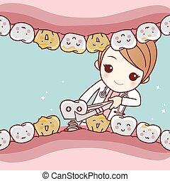 注入, 歯医者の, 概念, 漫画, 歯