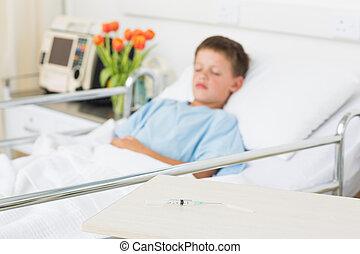 注射器, 上, 桌子, 由于, 男孩, 在, 醫院沃德