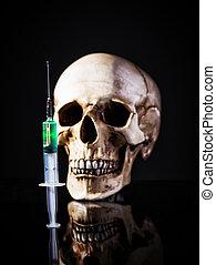 注射器, 在上方, 人的頭骨