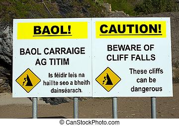 注意しなさい, 警告 印, 崖, 落ちる