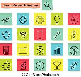 注意到, 粘性, 线, business icon