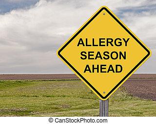 注意, アレルギー, -, 前方に, 季節