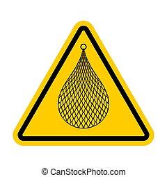 注意, 三角形, fishnet., 黄色の符号, fishing., 注意, 道