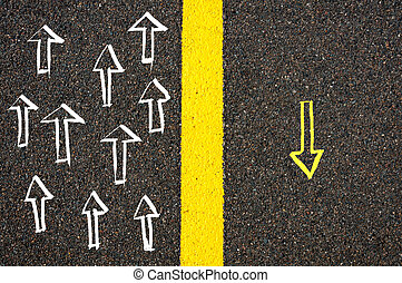 注意, 概念, 圖像, 黃色, 線, 路